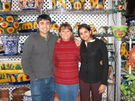 Delia, Bipin & myself with the Talavera Pottery from Mexico
