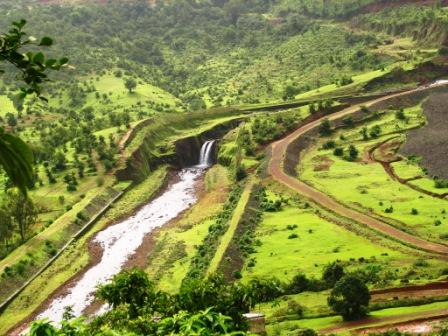 Aerial View of the Pawankhind Dam Waterfall