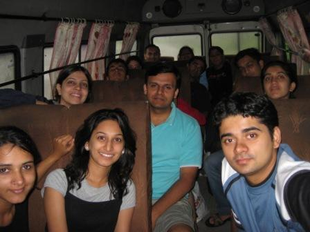 Start of our journey with Me, Kanchan, Kshiteej, Nitin, Sayali & Devaki clearly seen