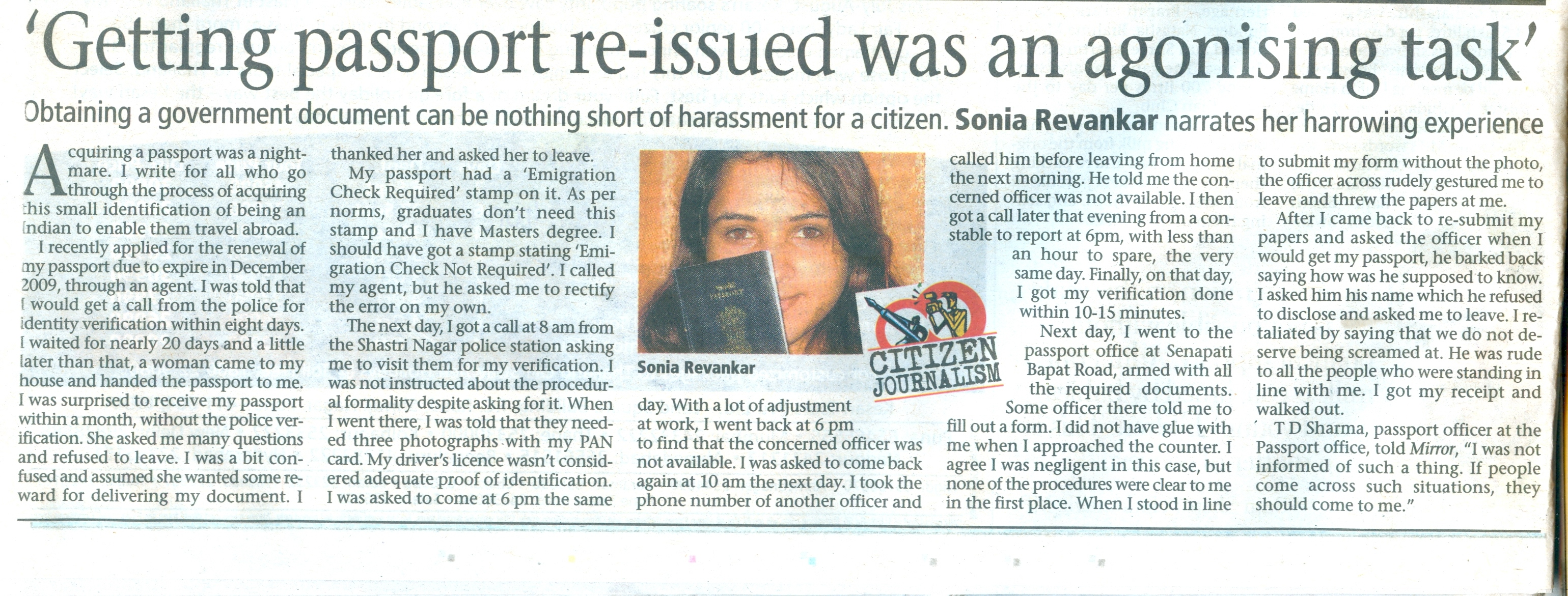 Article in Pune Mirror Aug 25, 2009