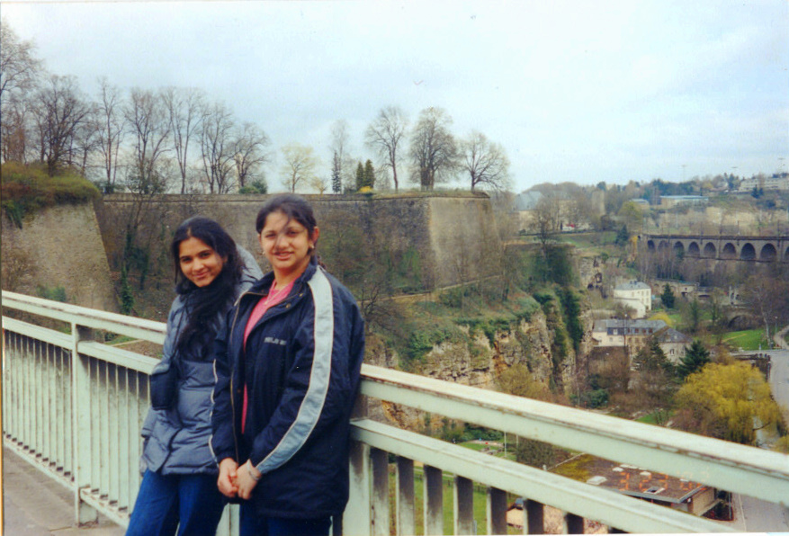 Reshma & Me on the Bridge Adolphe overlooking the  Pétrusse valley