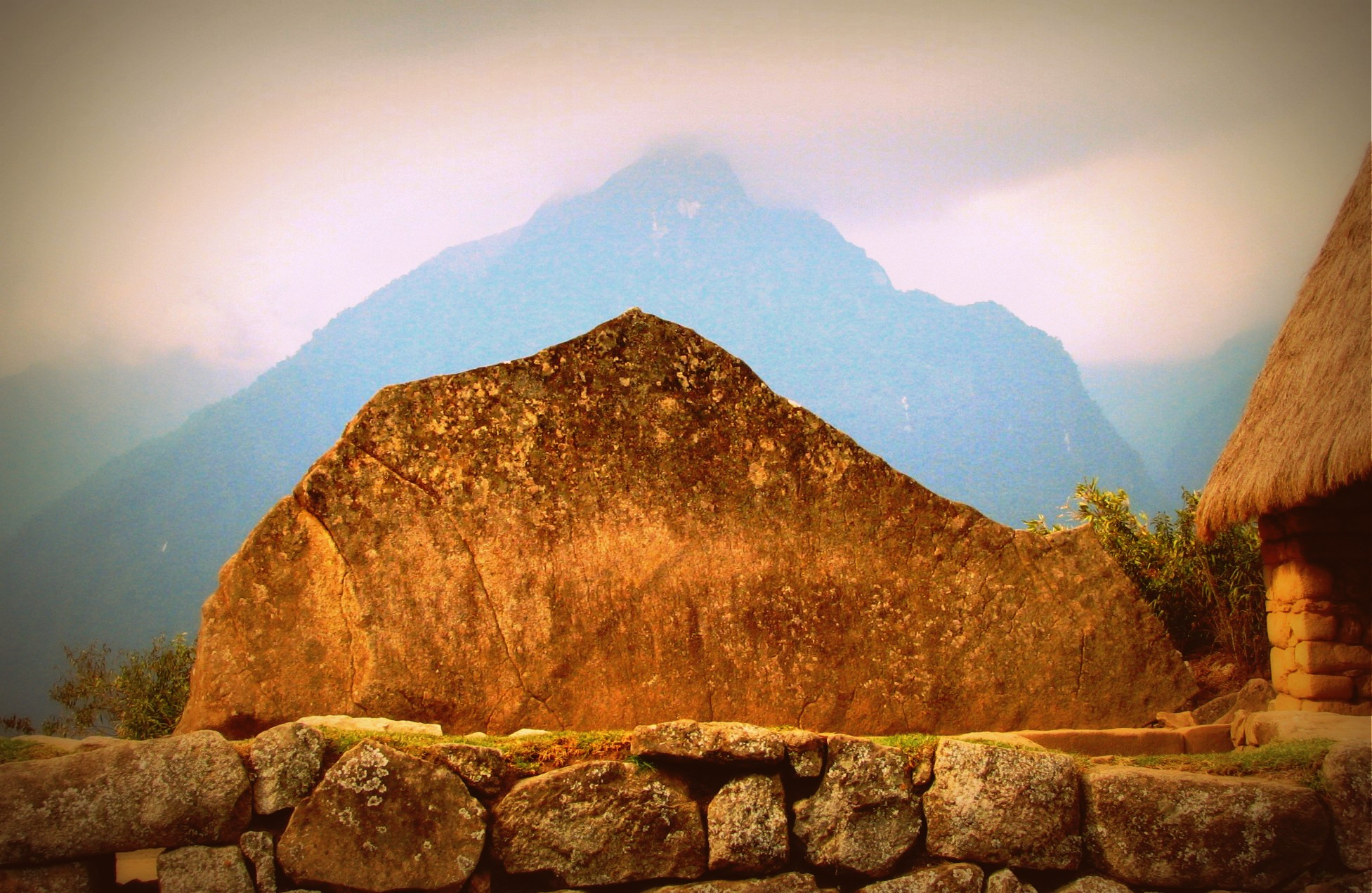 Rock cut like the Mountain behind