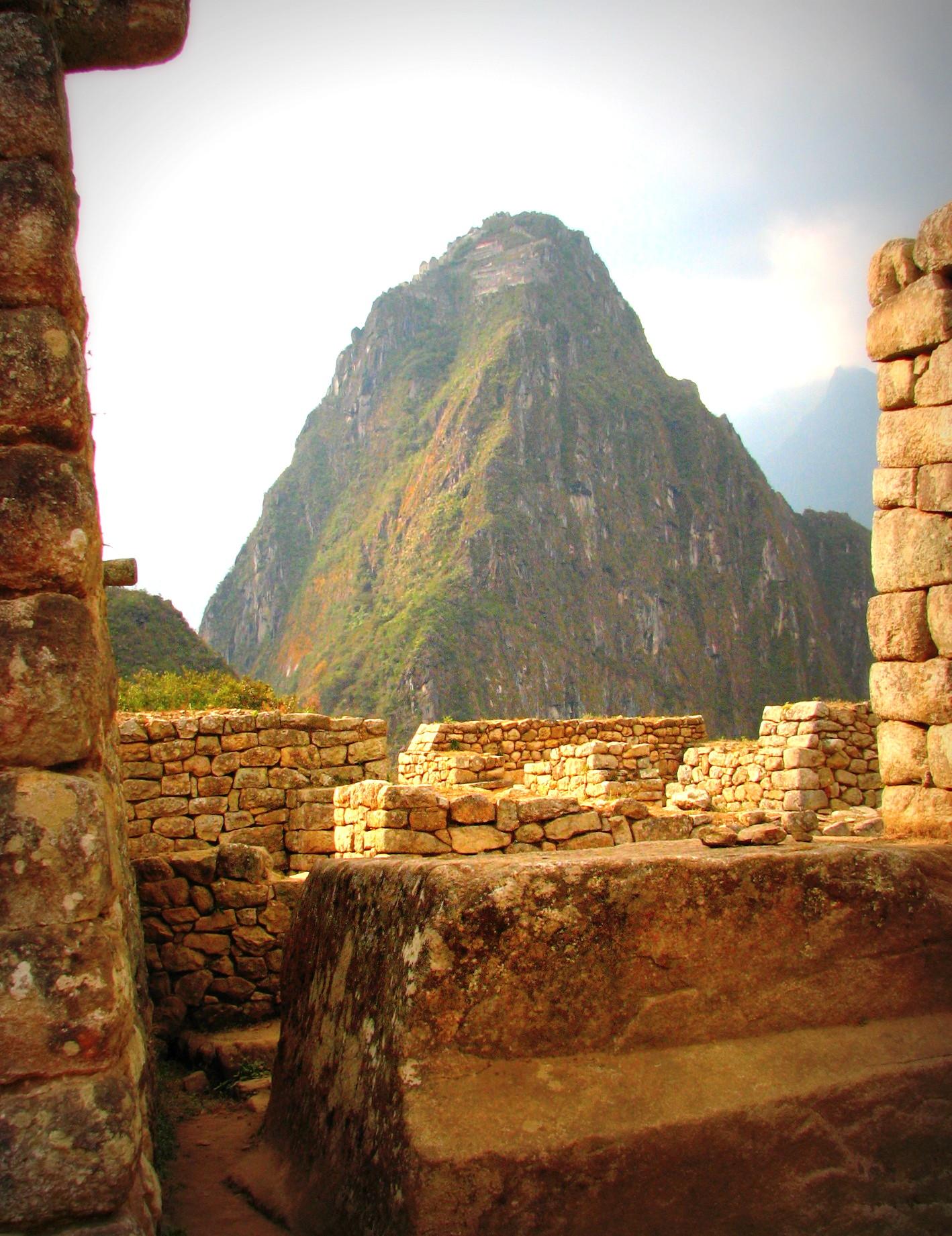 Door of a house overlooking the Peak of Wayna Picchu