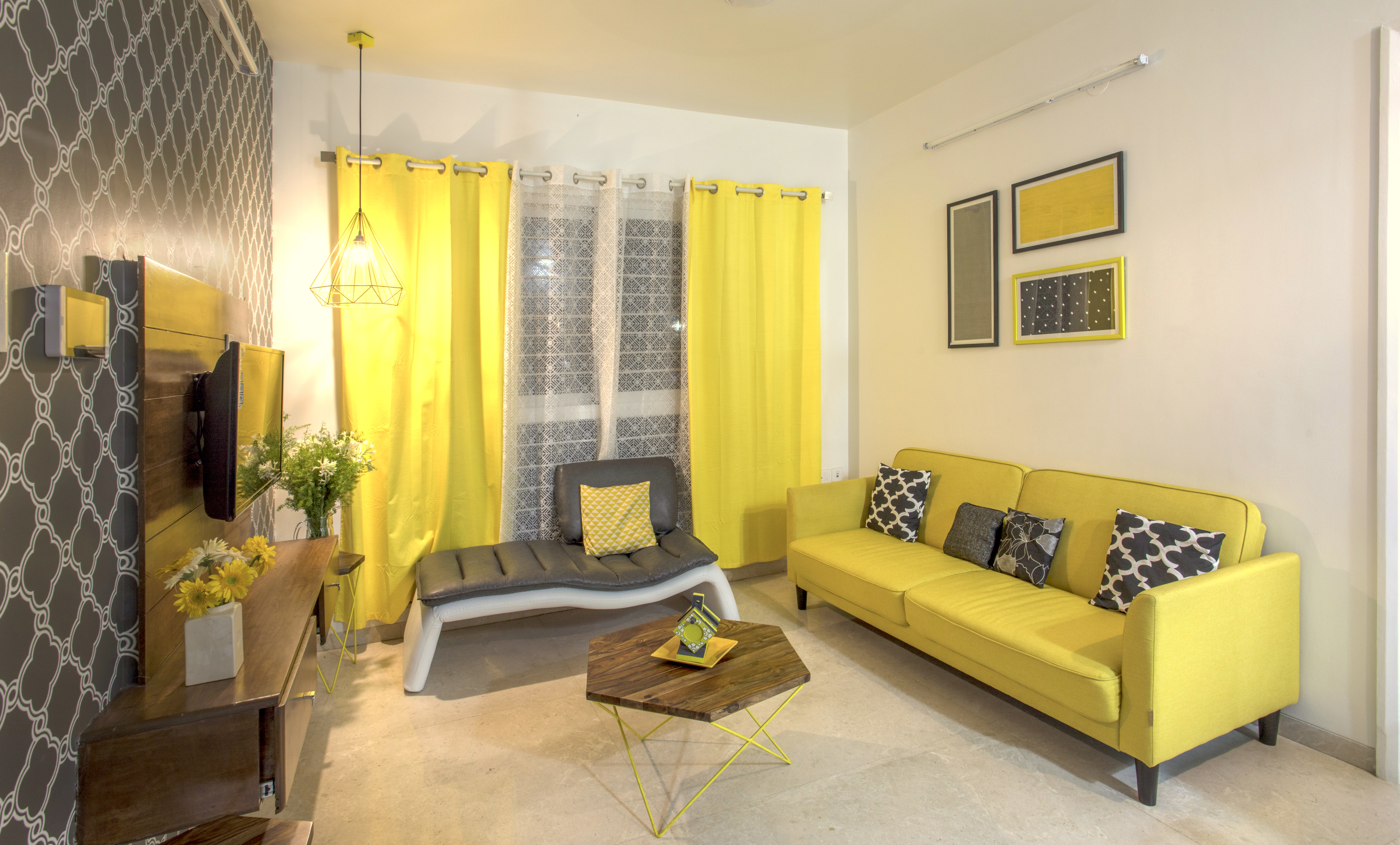 One Idea We Used Were Prints And Patterns On The Wall To Integrate The Yellow  Sofa Into The Living Room Without Making It Seem Out Of Place.